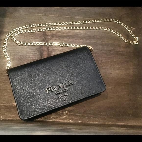 2d6b14dd43c1 Prada Bags | Bnwt Black Chain Wallet Clutch Purse Bag | Poshmark